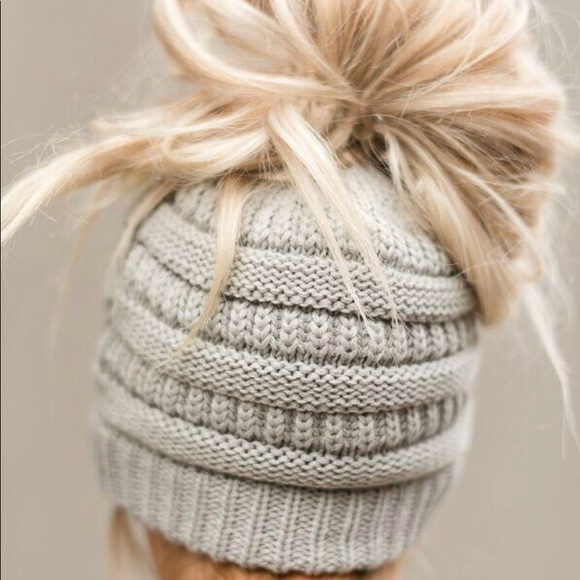 6ce900da7df C.C Beige Color Messy Bun Beanie Cap Hat New